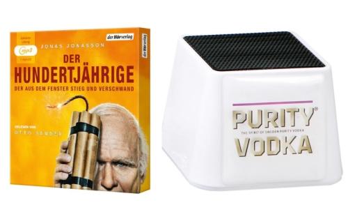 Hörbuch Packshot © der Hörverlag; Lautsprecherbox © Purity Vodka/Sierra Madre