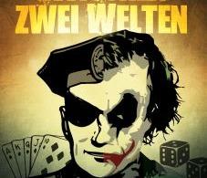 Abbildung eines Polizisten geteilt mit Clownsgesicht, Spielkarten und Spielwürfeln