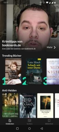 Screenshot der Read-o-App mit der Krimiliste von booknerds.de